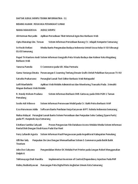 judul buat skripsi teknik informatika daftar judul skripsi teknik informatika