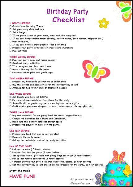 theme item list birthday party checklist boy s birthday pinterest