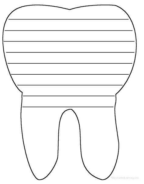 tooth writing template tooth writing sheet write a poem inside the tooth or go