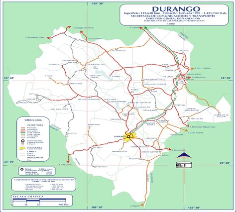 Durango Mexico Map by Durango Mexico Road Map Mapsof Net