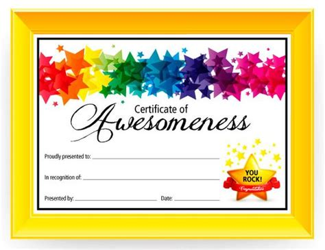 certificate templates for children certificate of awesomeness graduation kid and my name