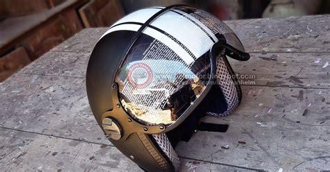 Helm Retro Bogo Deco Coklat Tua Coklat Tua Banget List Coklat helm retro kz black doff helm vespa