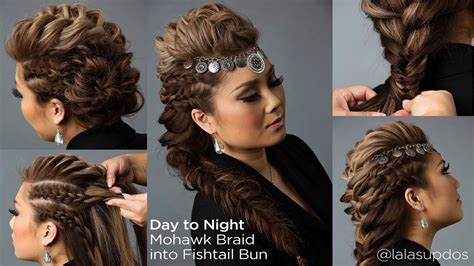 how to do a updew with a sew in bamg day to night hairstyle mohawk braid into fishtail bun