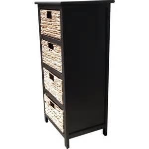 4 drawer wicker storage unit in brown