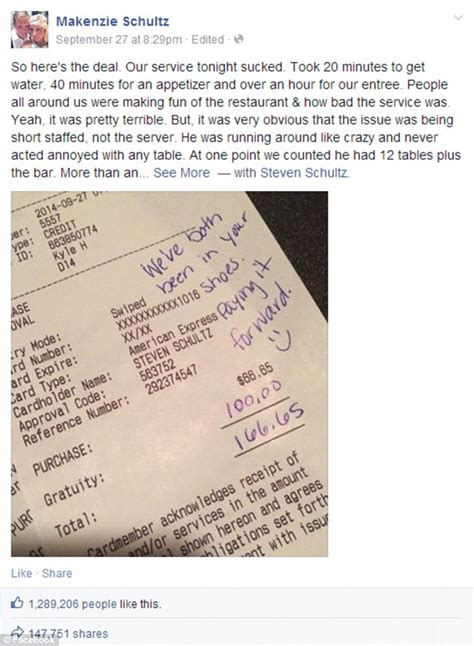 generous couple leave 100 tip to server with a sweet note