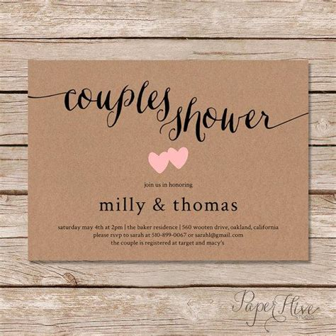 couples bridal shower invitations templates rustic couples shower invitation kraft couples wedding