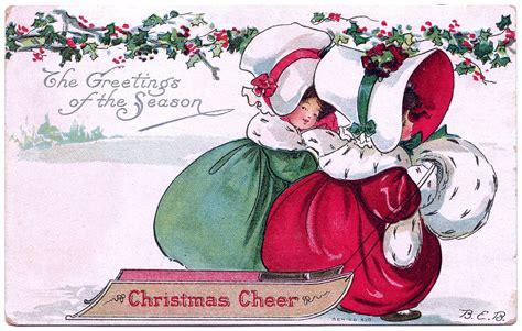 vintage christmas clip art bonnet girls  sled  graphics fairy