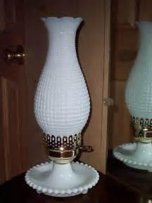 vintage white milk glass table lamp hobnail hurricane
