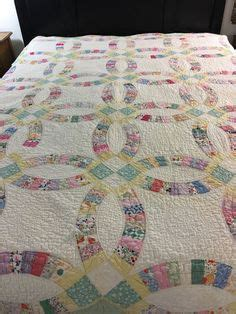 vintage double wedding ring quilt by arch quilts 78 x 96