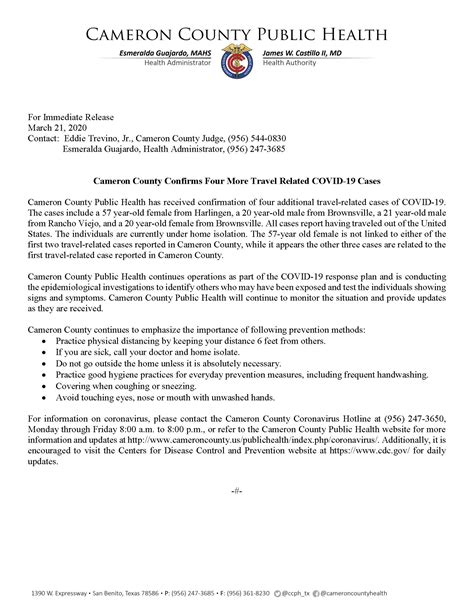 Cameron County Confirms Four More Travel Related COVID-19