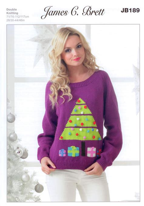 knitting pattern xmas jumper ladies christmas tree jumper jb189 knitting pattern