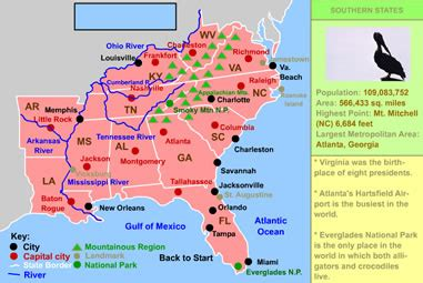 map southern united states region united states regions