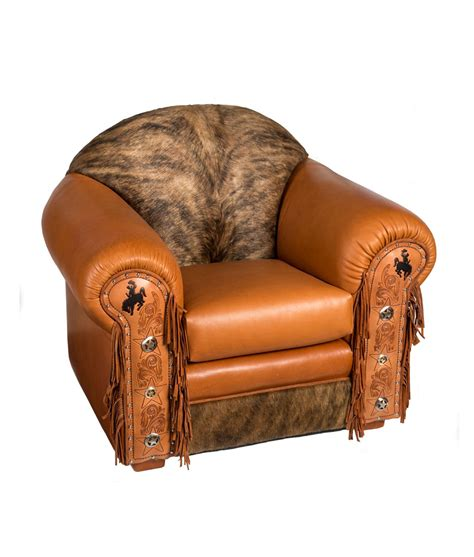 leather cowhide furniture mustang chair rustic artistry