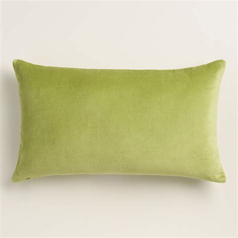 peridot green velvet lumbar pillow world market