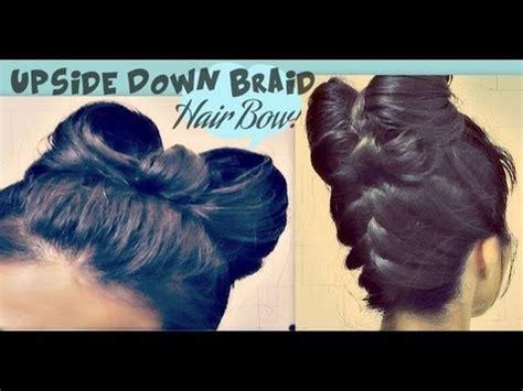 hair that shaped in an upside down v hair bow tutorial upside down braid bun french style