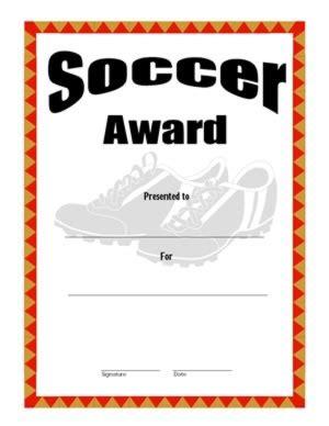 certificate of achievement on soccer four success