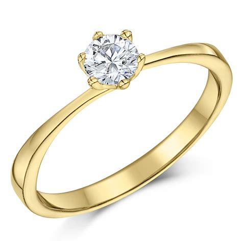 9ct yellow gold quarter carat six claw solitaire