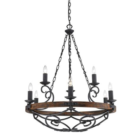 Tier Chandelier Vargas Collection 9 Light Black Iron 2 Tier Chandelier 829mpbi The Home Depot