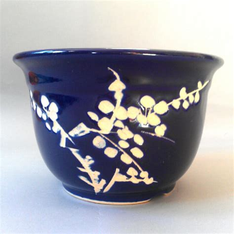 cobalt blue planters items similar to vintage 60s cobalt blue ceramic planter cherry blossom motif