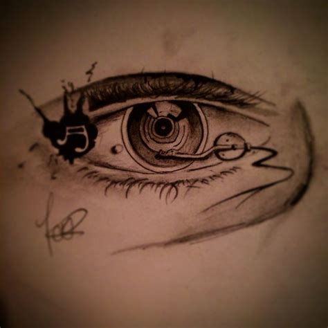 record player eyeball tattoo design pen and pencil