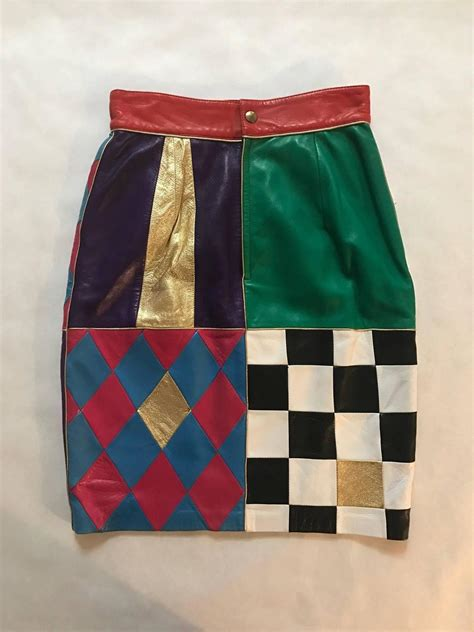 Patchwork Skirt Pattern - moschino vintage 1980s leather patchwork pencil skirt