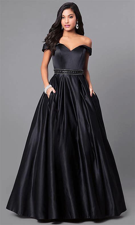 satin   shoulder prom dress