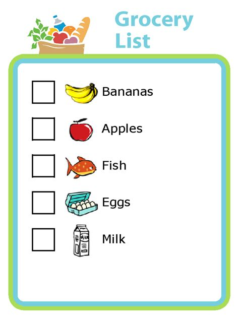 printable grocery list for toddlers grocery shopping list with pictures for kids the trip clip