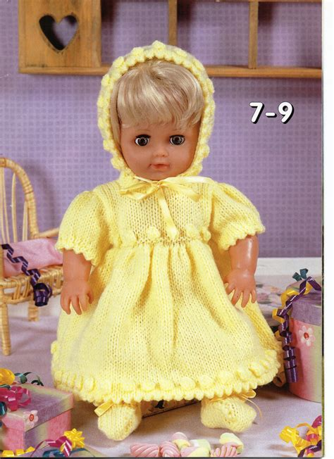 baby doll clothes knitting patterns baby dolls clothes knitting pattern dolls dress bonnet bootees