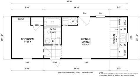 One Bedroom Mobile Home Floor Plans by Micro 12 X 32 373 Sqft Mobile Home Factory Expo Home Centers