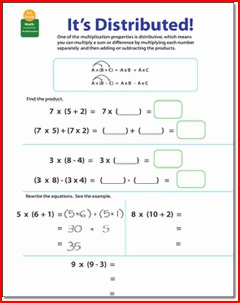 Distributive Property Worksheet by Distributive Property Of Multiplication Worksheet Worksheets