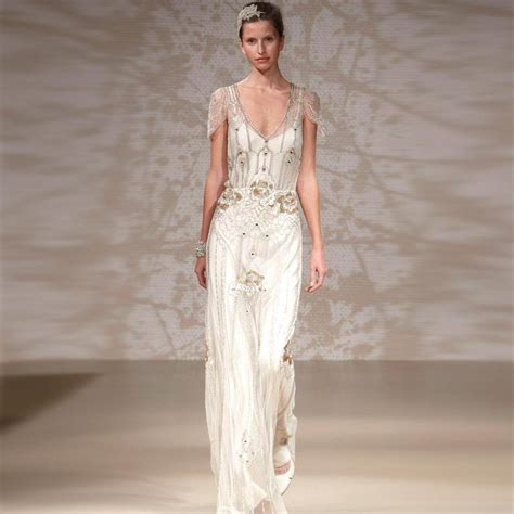 beaded deco wedding dress 2015 packham style gowns sheath open back with
