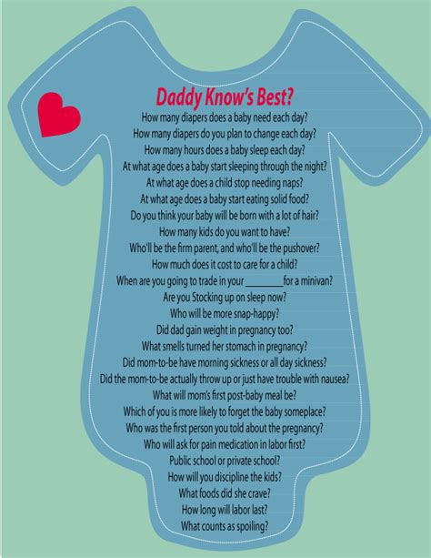 Who Knows Best Baby Shower Questions by Knows Best Before The Shower Ask The To Be A