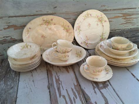 vintage shabby chic dinnerware plate dish set by crocksville china co in ohio antique