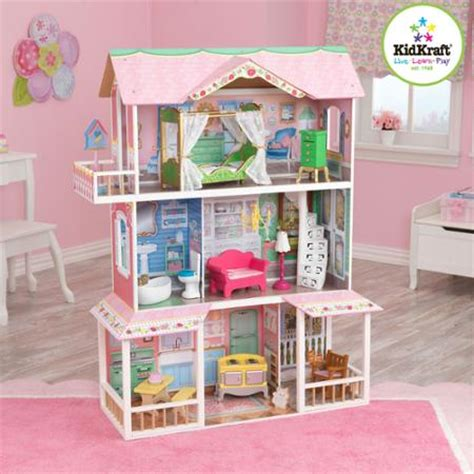 kidkraft savannah doll house kidkraft sweet savannah wooden dollhouse with 13 pieces of furniture walmart com