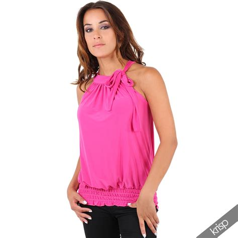 top blouse halter neck draped ruched top blouse flattering bow tie