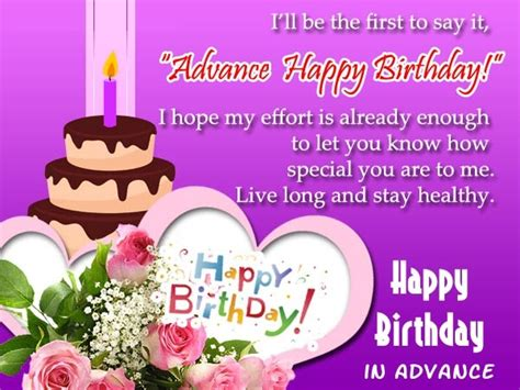 Happy Birthday Wishes Advance Sms Advance Birthday Wishes For Friends And Family Happy