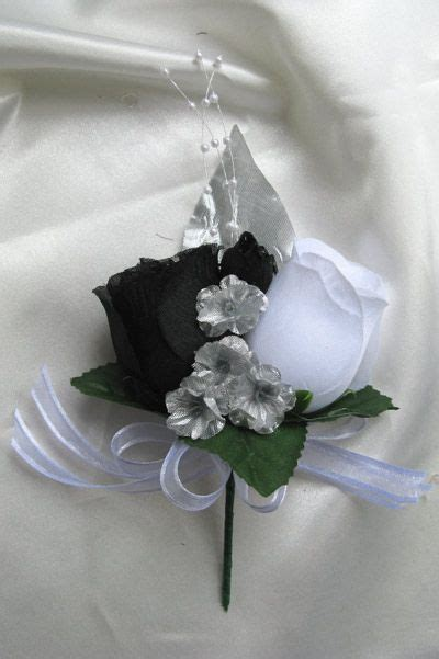 black silver wedding bouquets 31pc wedding cascade bouquet silk bridal flowers black white