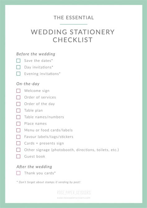 Wedding Checklist Essentials by What Is Wedding Stationery Your Own Free Checklist