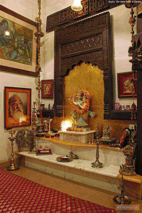decorate mandir at home an elegant puja room with marble floor and hanging bells