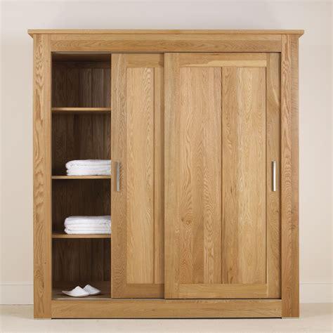 Bedroom Furniture Wardrobes Sliding Doors Quercus Solid Oak Sliding Door Wardrobe 1 8m Con Tempo Furniture