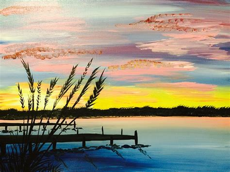 paint the nite island paint nite sunset by the dock