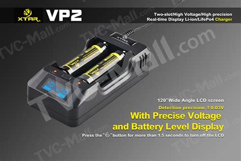 Mgxtar Vp2 Intelligent Battery Charger 2 Slot For Liion Wlcd T1310 xtar vp2 2 slot intelligent led monitor 18650 battery