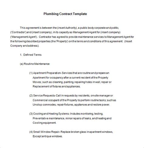 9 Plumbing Contract Templates Free Word Pdf Format Download Free Premium Templates Free Electrical Service Contract Template