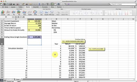 Monte Carlo Simulation Excel Template by Basic Monte Carlo Simulation Of A Stock Portfolio In Excel