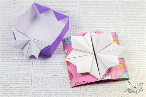 Origami Pop Up Flower - origami popup envelope box tutorial paper kawaii