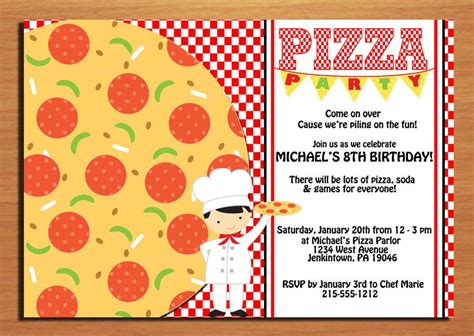 pizza party customized printable birthday party invitation