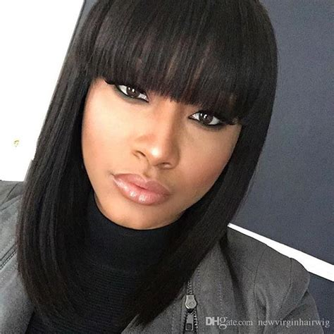 wigs for thin bangs styles silky straight human hair wigs with bangs brazilian hair