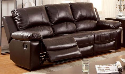 Davenport Top Grain Leather Match Reclining Sofa