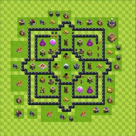 layout level 8 town hall base layout town hall level 8 tipe farming coc indonesia