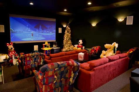 Cinema Themed Living Room by Winter A Log Home In Wisconsin